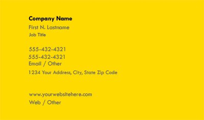 Solid Yellow Business Card Template